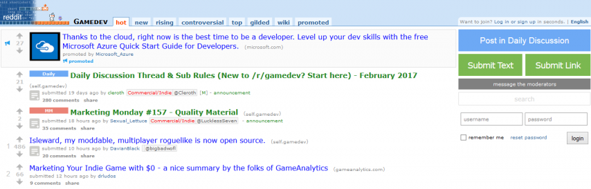reddit for indie devs